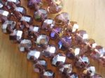Electroplate Glass Rondelle Beads with AB plating - 8x6mm (18 beads) - Amethyst